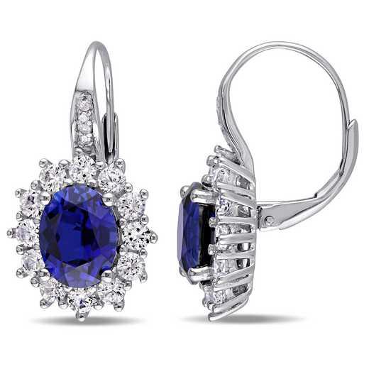 BAL000543: Halo Diamond Created Blue/ Wht Sapphire Earrgs  SS