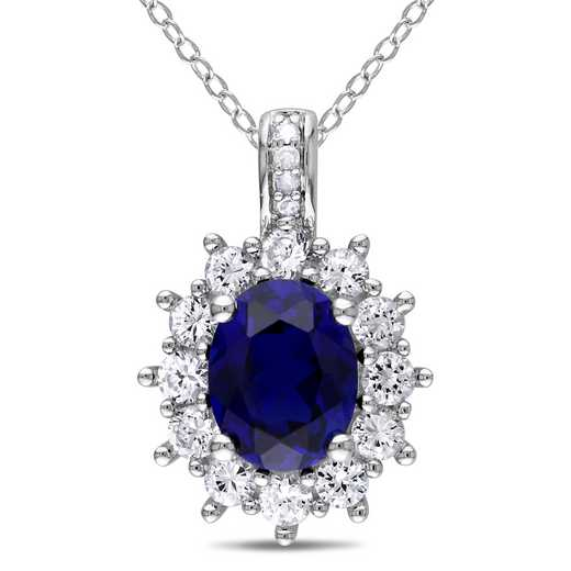 BAL000545: Diamond / Created Blue / Wht Sapphire Oval Halo Nck  SS