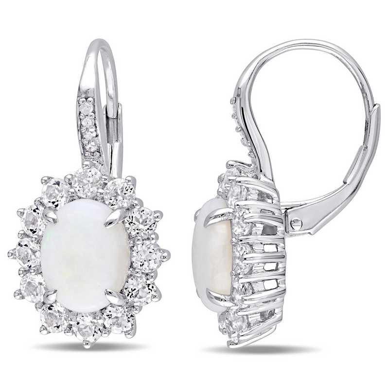 BAL000547: Opal, Wht Topaz / Diamond Halo Leverback Earrgs  SS