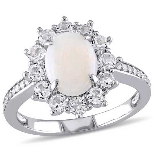1/10 CT. T.W. Diamond and Opal and White Topaz Oval Halo Ring in Sterling Silver