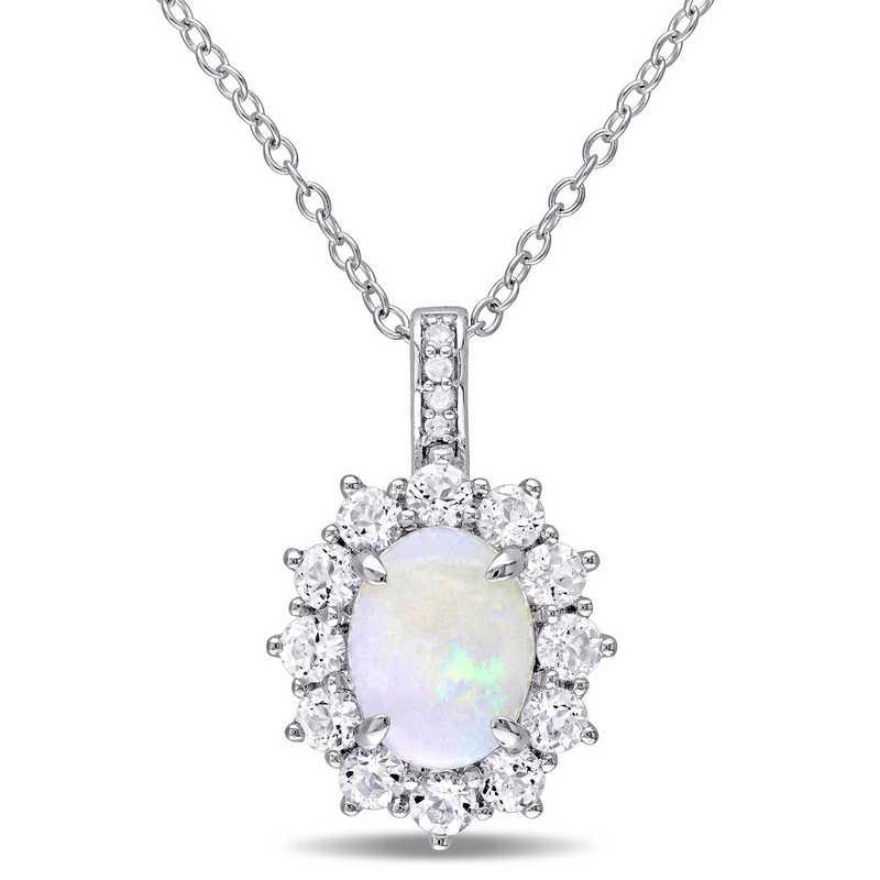 BAL000549: Opal, Wht Topaz / Diamond Halo Pendant W/ Cha  SS