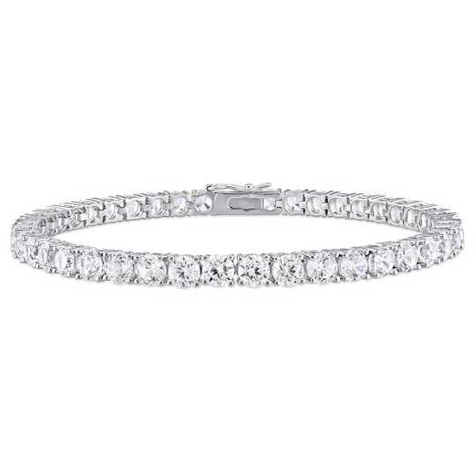 BAL000550: 14 1/4 CT TGW Created Wht Sapphire Bracelet  SS