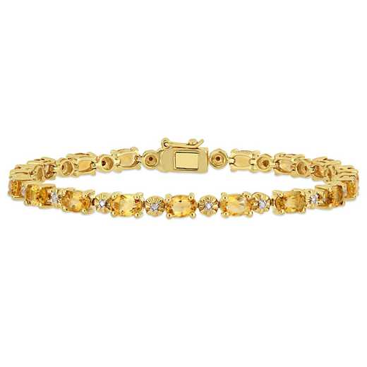 BAL000551: Citre / Diamond Accent Bracelet  Yellow Plated SS