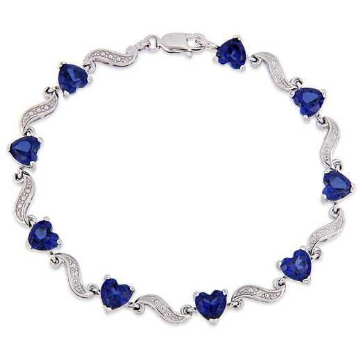 BAL000553: Blu Sapphire/Dmnd Accnt Heart Lk Bracelet SS
