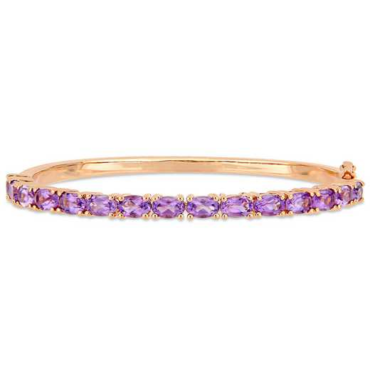 BAL000554: 6 CT TGW Oval-Cut Amethyst Bangle  Rose Plated SS