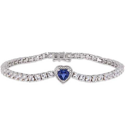 BAL000555: Created Blue / Wht Sapphire Heart Tennis Bracelet  SS