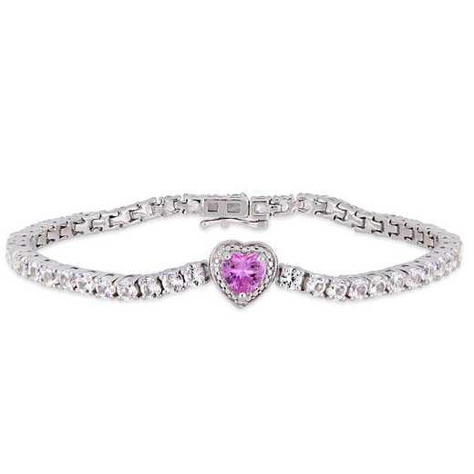 BAL000556: Created Pk / Wht Sapphire Heart Tennis Bracelet  SS