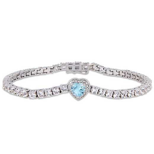 BAL000557: Blue Topaz / Created Wht Sapphire Heart Bracelet  SS