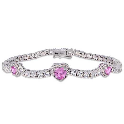 BAL000561: Created Pk / Wht Sapphire Triple Heart Bracelet  SS