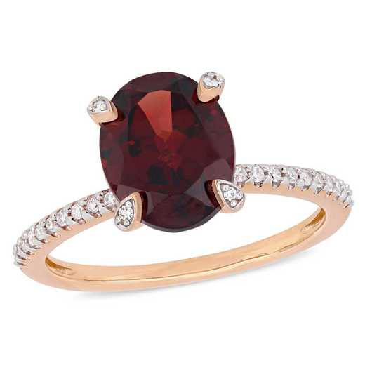 1/10 CT. T.W. Diamond and Oval Garnet Ring in 10k Rose Gold
