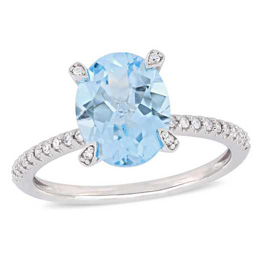 1/10 CT. T.W. Diamond and Oval Blue Topaz Ring in 10k White Gold