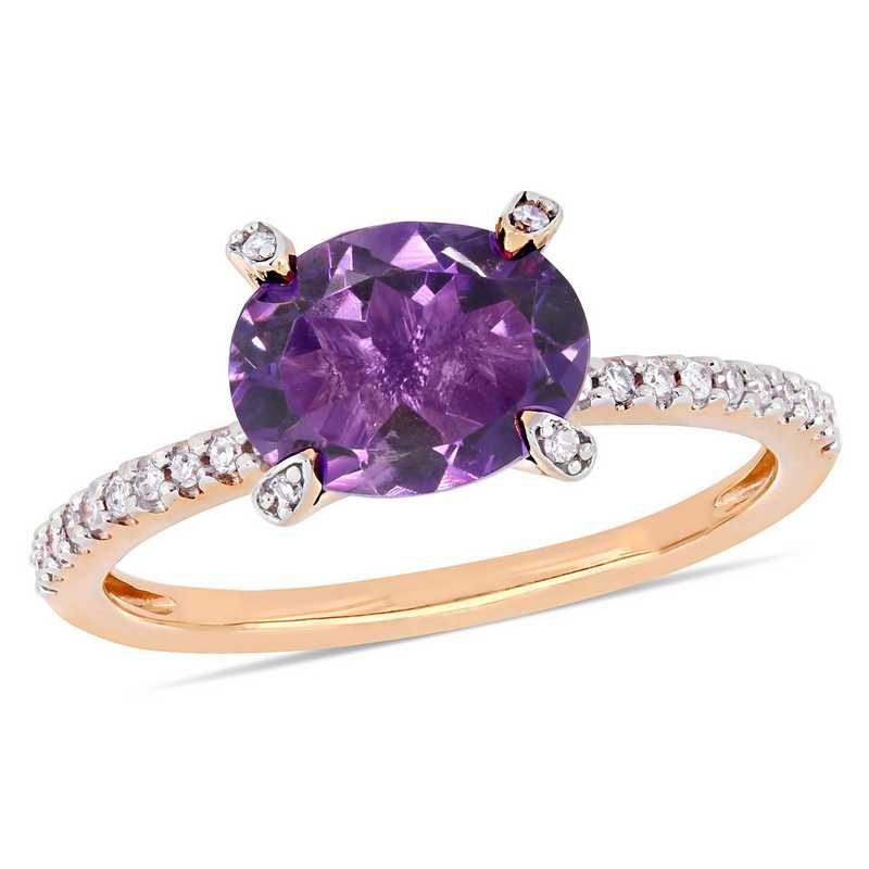 1/10 CT. T.W. Diamond and Oval Amethyst Ring in 10k Rose Gold