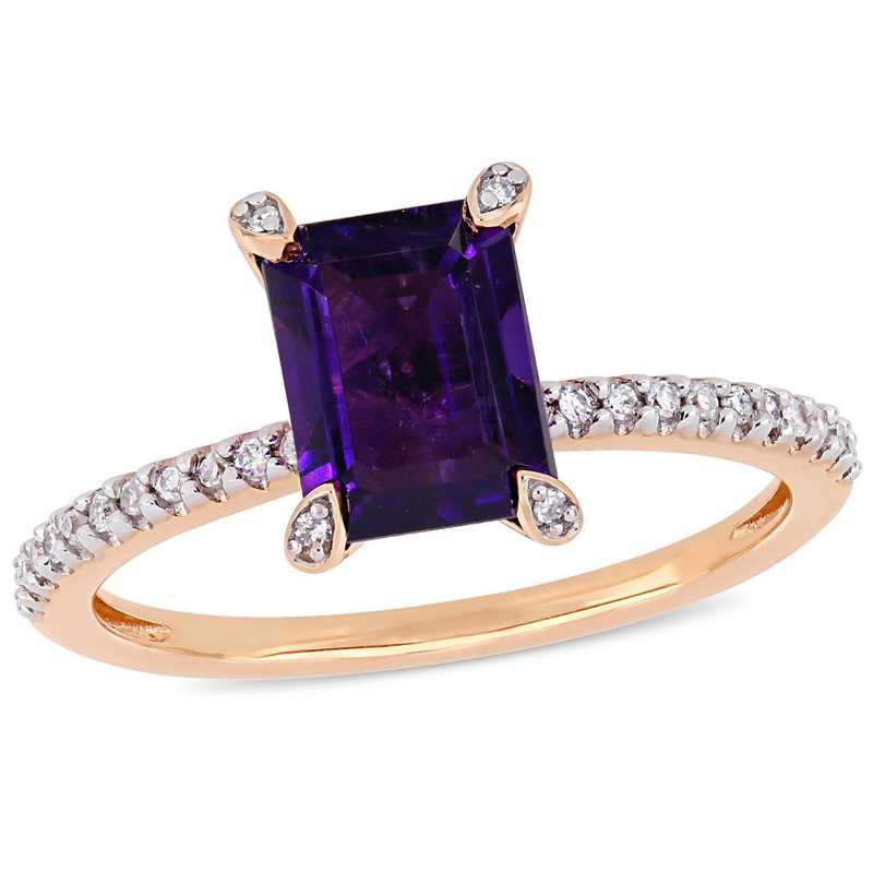 1/10 CT. T.W. Diamond and Octagon Amethyst Ring in 10k Rose Gold