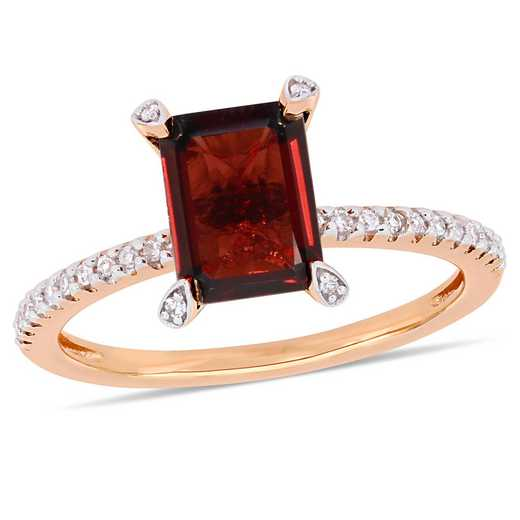1/10 CT. T.W. Diamond and Octagon Garnet Ring in 10k Rose Gold