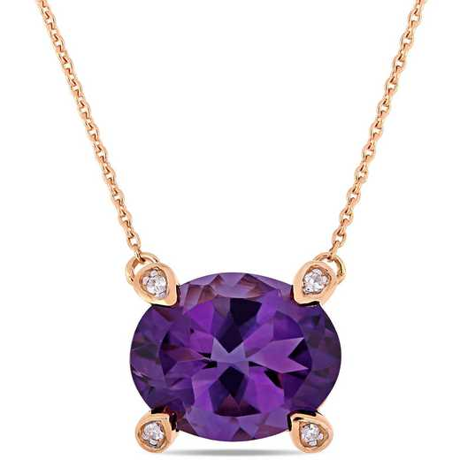 BAL000575: Amethyst / 1/10 CT TW Diamond Beaded Ncklc 10k RoseGold