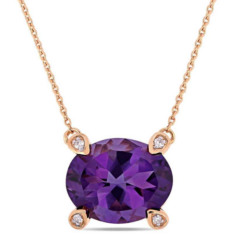 BAL000575: Amethyst / 1/10 CT TW Diamond Beaded Ncklc 10k RoseGold