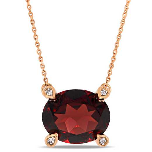 BAL000576: Garnet / 1/10 CT TW Diamond Necklace  10k Rose Gold