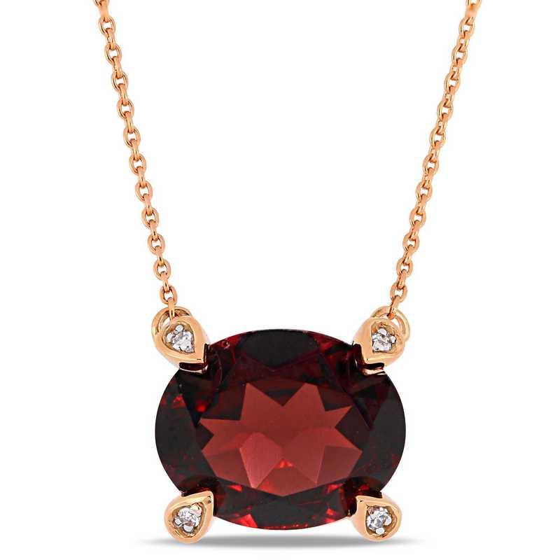 BAL000576: Garnet / 1/10 CT TW Diamond Necklace  10k Rose Gold