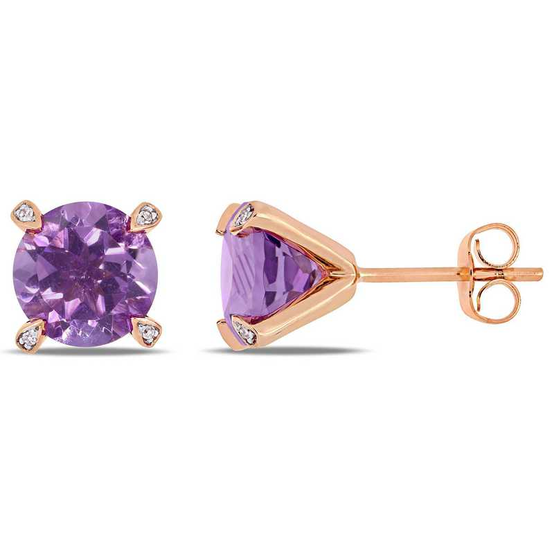 BAL000577: Amethyst / 1/10 CT TW Diamond Stud Earrgs  10k Rose Gold