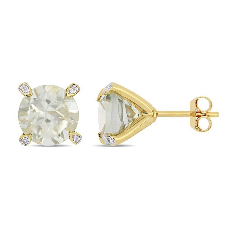 BAL000578: Green Amethsyt / 1/10 CT TW Diamond Earrgs 10k Ylw Gld