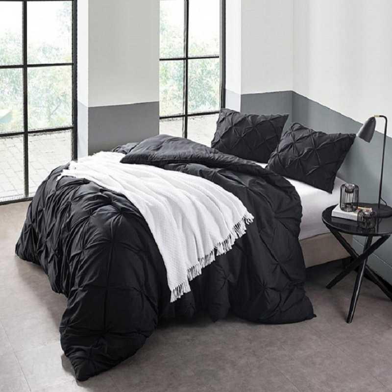 CRYS-MICRO-PIN-TXL-BLK: DormCo Black Pin Tuck Twin XL Dorm Comforter