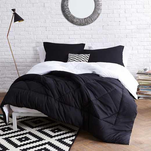 CRYS-MICRO-REV-TXL-BW: Black/White Reversible Twin XL Comforter