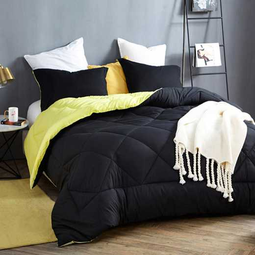 CRYS-MICRO-REV-TXL-BLKLY: Black/Limelight Yellow Reversible Twin XL Comforter