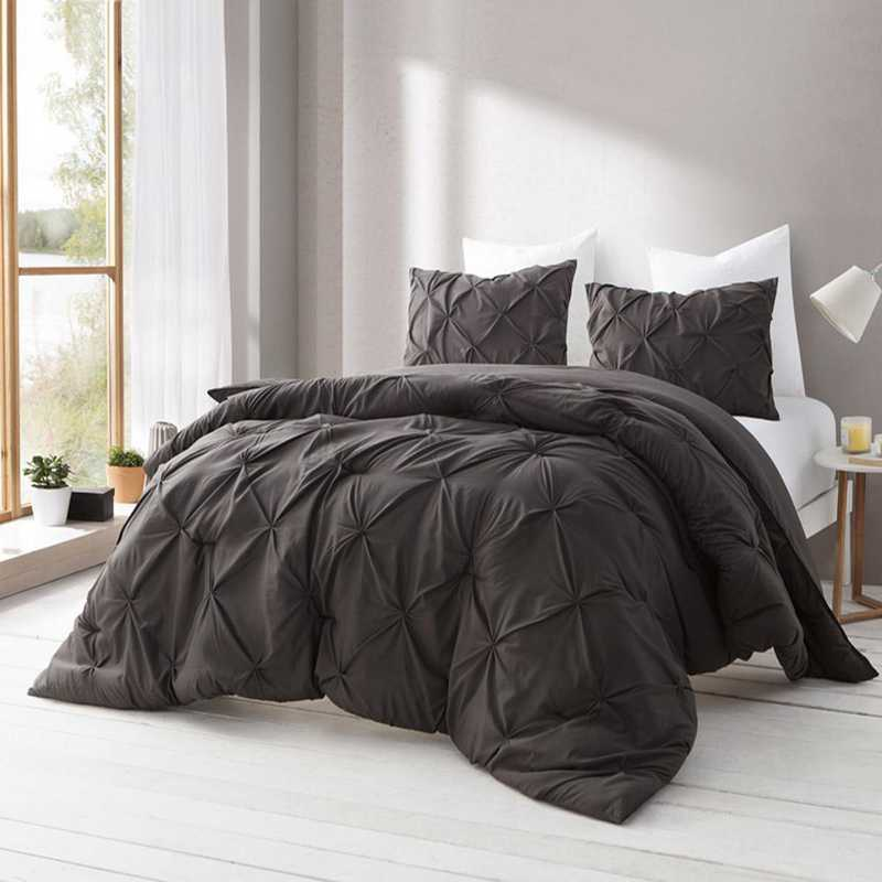 PINTUCK-DB-TXL: DormCo Demitasse Brown Pin Tuck Twin XL Dorm Comforter
