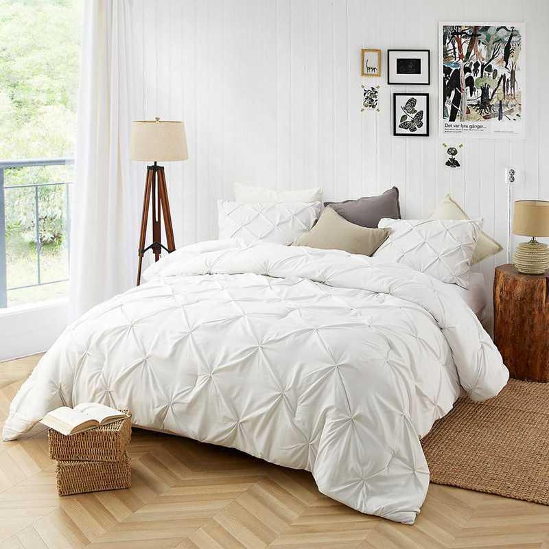 Farmhouse White Pin Tuck Twin Xl Dorm Comforter