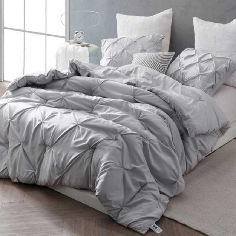 PINTUCK-GG-TXL: DormCo Glacier Gray Pin Tuck Twin XL Dorm Comforter