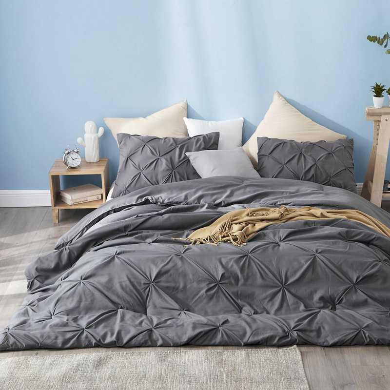 CRYS-MICRO-PIN-TXL-GRG: DormCo Granite Gray Pin Tuck Twin XL Dorm Comforter