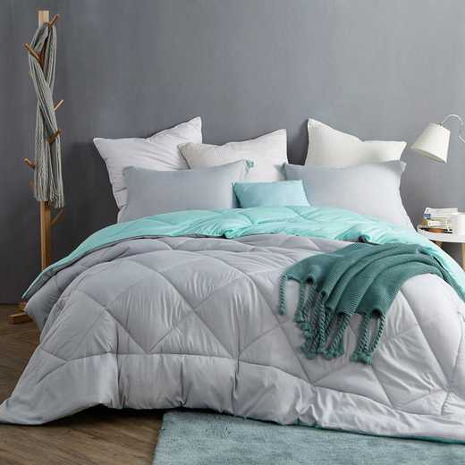 CRYS-MICRO-REV-TXL-GGYU: Glacier Gray/Yucca Reversible Twin XL Comforter