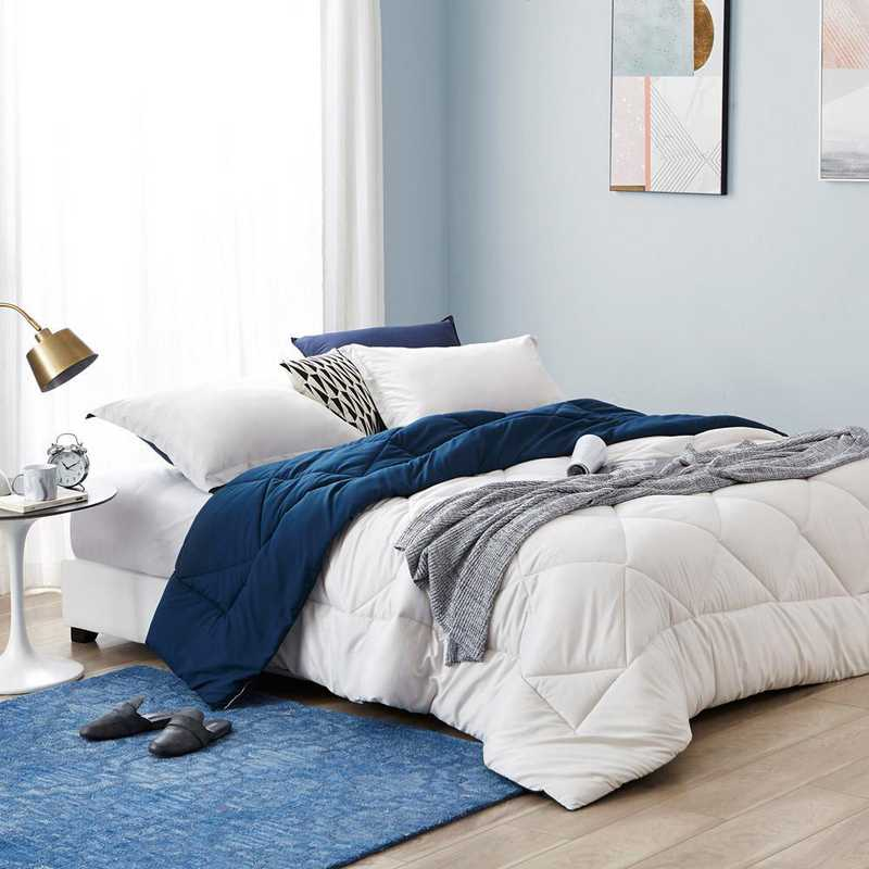 CRYS-MICRO-REV-TXL-JSNN: Jet Stream/Nightfall Navy Reversible Twin XL Comforter