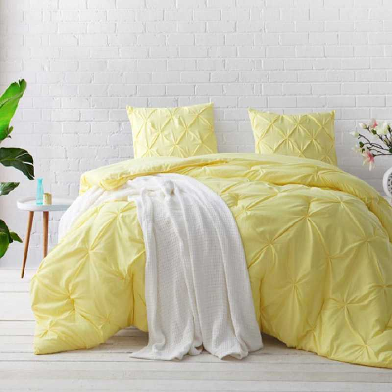 PINTUCK-LY-TXL: DormCo Limelight Yellow Pin Tuck Twin XL Dorm Comforter