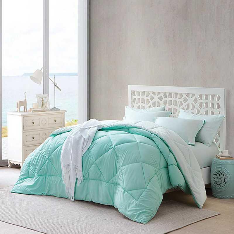CRYS-MICRO-REV-TXL-HMYU: Yucca/Hint of Mint Reversible Twin XL Comforter