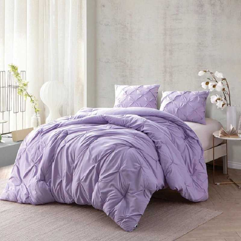 CRYS-MICRO-PIN-TXL-ORC-PET: DormCo Orchid Petal Pin Tuck Twin XL Dorm Comforter