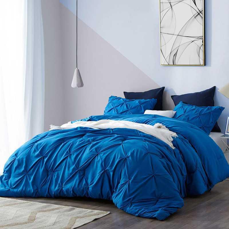 CRYS-MICRO-PIN-TXL-PB: DormCo Pacific Blue Pin Tuck Twin XL Dorm Comforter
