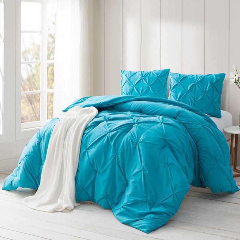 PINTUCK-PKB-TXL: DormCo Peacock Blue Pin Tuck Twin XL Dorm Comforter
