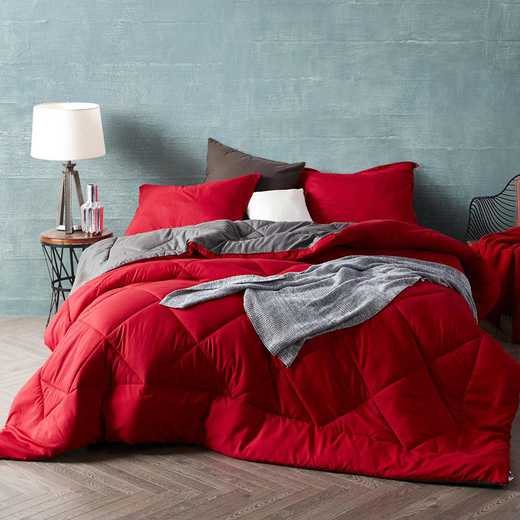 CRYS-MICRO-REV-TXL-REDGRG: Cherry Red/Granite Gray Reversible Twin XL Comforter