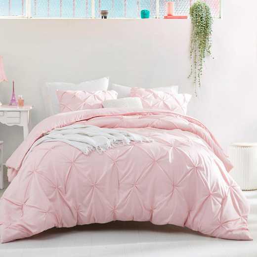 CRYS-MICRO-PIN-TXL-RQ: DormCo Rose Quartz Pin Tuck Twin XL Dorm Comforter