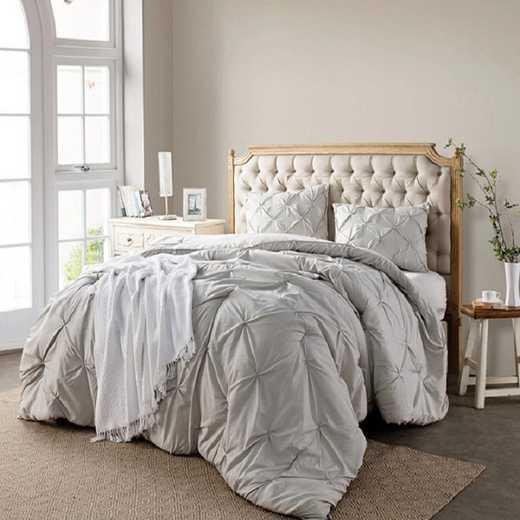 CRYS-MICRO-PIN-TXL-SILV-BIR: DormCo Silver Birch Pin Tuck Twin XL Dorm Comforter