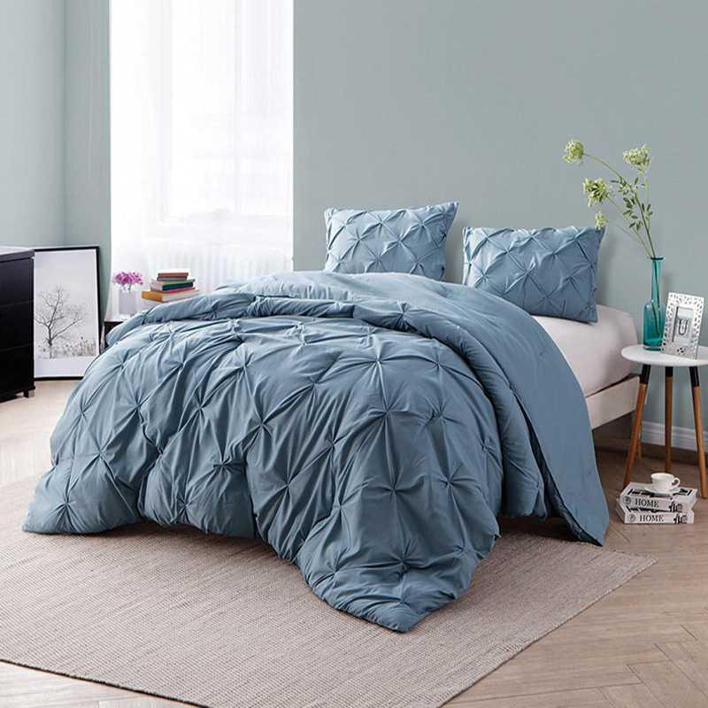 CRYS-MICRO-PIN-TXL-SMK-BL: DormCo Smoke Blue Pin Tuck Twin XL Dorm Comforter