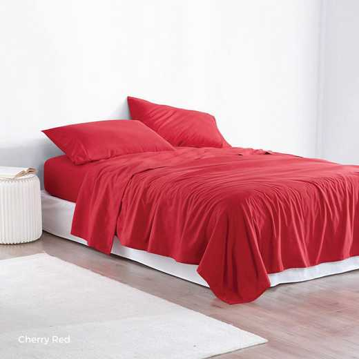 MICROFIB-TXL-SHEETS-RED: Supersoft Twin XL Bedding Sheets - Cherry Red