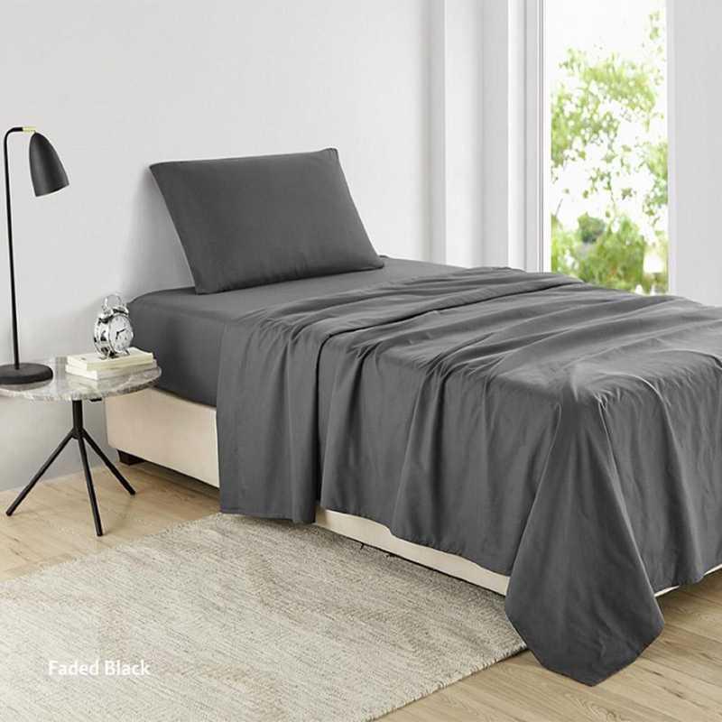 MICROFIB-TXL-SHEETS-FB: Supersoft Twin XL Bedding Sheets - Faded Black