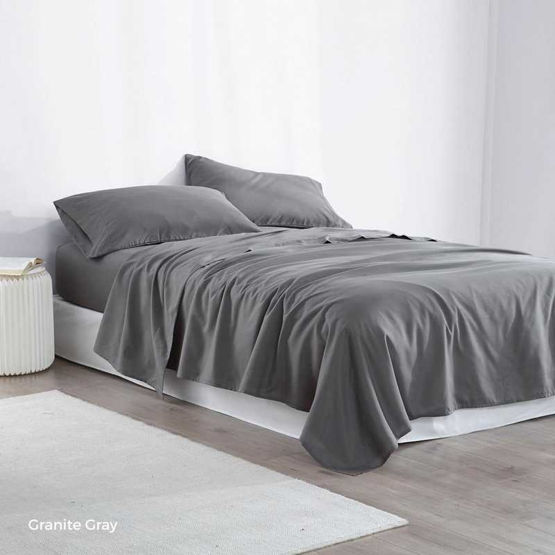 MICROFIB-TXL-SHEETS-GRG: Supersoft Twin XL Bedding Sheets - Granite Gray