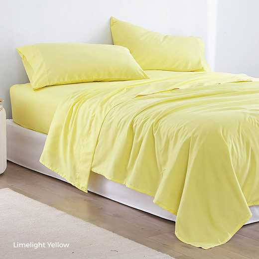 MICROFIB-TXL-SHEETS-LY: Supersoft Twin XL Bedding Sheets - Limelight Yellow