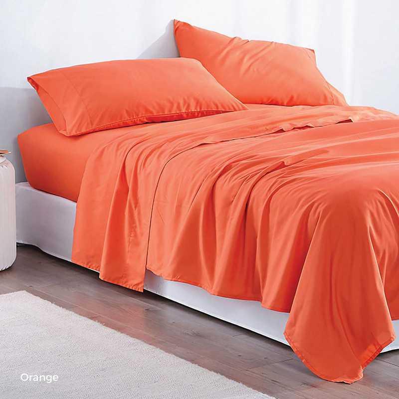 MICROFIB-TXL-SHEETS-ORANGE: Supersoft Twin XL Bedding Sheets - Orange