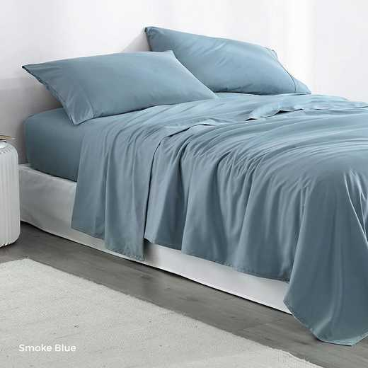 MICROFIB-TXL-SHEETS-SMKBLUE: Supersoft Twin XL Bedding Sheets - Smoke Blue