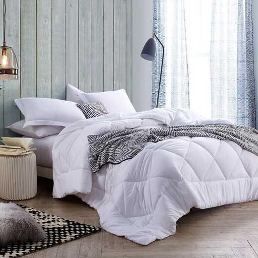 B1-3-5-MICROCOMF: White Reversible Twin XL Comforter