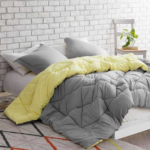 REV-LY-A-TXL: Limelight Yellow/Alloy Reversible Twin XL Comforter